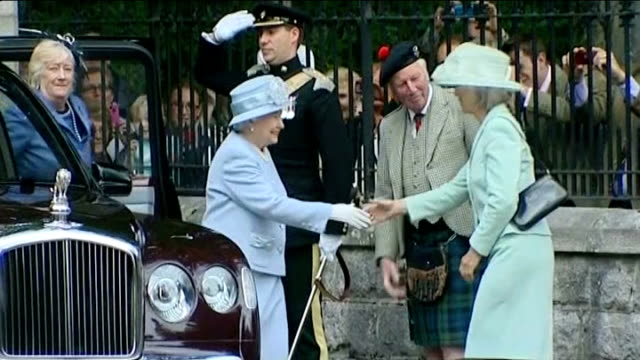 queen speaks about scottish independence referendum; lib - 8.8.2013 scotland: aberdeenshire: balmoral: balmoral castle: ext queen elizabeth out of... - referendum stock videos & royalty-free footage