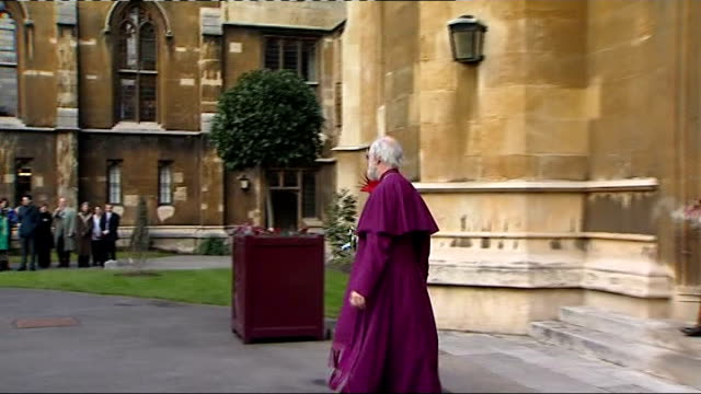 queen speaks of role of church of england in speech at lambeth palace ext queen and dr rowan williams departing building and saying goodbye then... - lambeth stock-videos und b-roll-filmmaterial