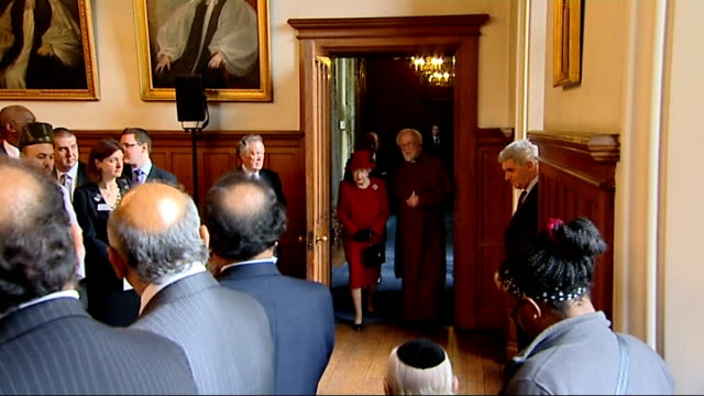 queen speaks of role of church of england in speech at lambeth palace england london lambeth palace int dr rowan williams speech at multifaith... - lambeth stock-videos und b-roll-filmmaterial