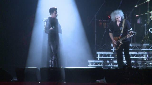 vídeos de stock e filmes b-roll de queen take to the stage in the kiev fanzone for a benefit concert to raise awareness against hivaids kiev ukraine - benefit concert