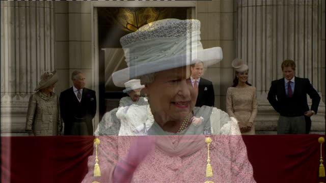 queen to miss commonwealth heads of government as scales down duties; 2012 queen waving to crowd from balcony on diamond jubilee - diamantenes jubiläum stock-videos und b-roll-filmmaterial