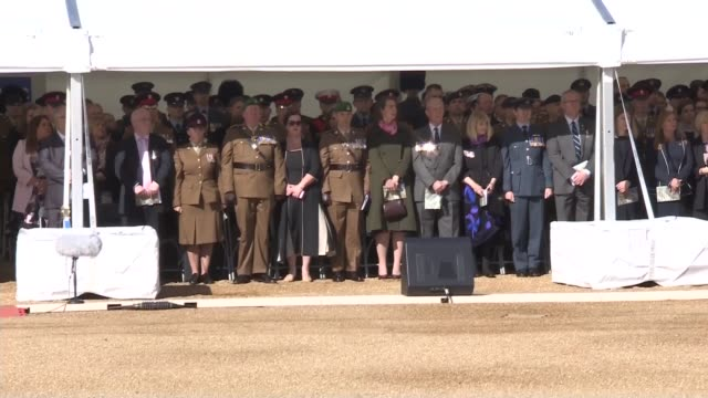 queen unveils iraq and afghanistan memorial part two people on stage stand in silence as the last post is played / bugler playing last post / drums... - david cameron politician stock videos & royalty-free footage