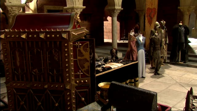 queen visit to game of thrones set more of costumes and iron throne on set of game of thrones / ext queen elizabeth ii and prince philip duke of... - throne stock videos & royalty-free footage