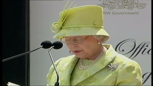 sydney queen elizabeth ii speech sot it is certainly fitting that 33 years after it's opening the opera house is now being officially proposed for... - colonnade stock videos & royalty-free footage