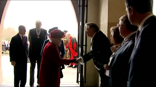 queen visits east surrey college guildford guildford cathedral quenn and duke of edinburgh greeted on arrival - guildford stock videos and b-roll footage