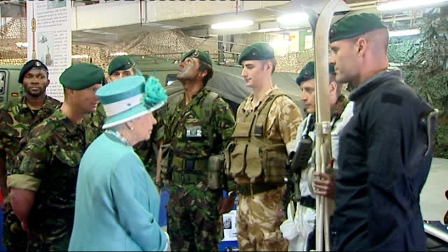 queen visits hms ocean at devonport int queen and prince philip duke of edinburgh boarding ship hms ocean / queen chatting to royal marines / queen... - 2010 stock videos & royalty-free footage