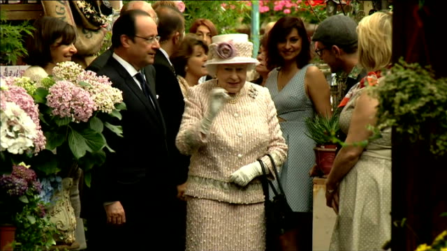 queen visits paris flower market; france: paris: int flower bushes / queen elizabeth ii , francois hollande and anne hidalgo along and chatting to... - bush stock videos & royalty-free footage