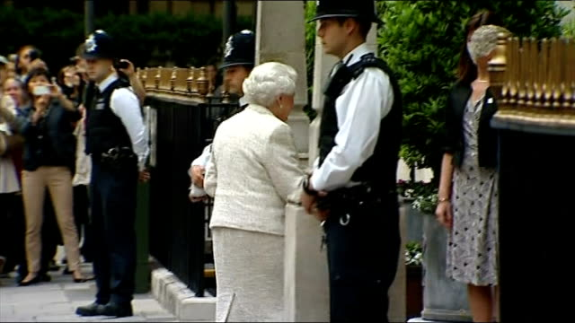 Queen visits Prince Philip in hospital on his 92nd birthday ENGLAND London London Clinic EXT Queen Elizabeth II out of car and arriving at hospital...