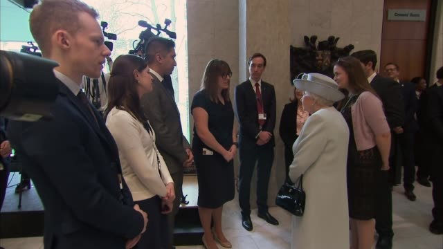 Queen visits Royal College of Physicians to mark 500th anniversary **Dacre interview overlaid SOT** Queen Elizabeth II chatting to people Close shot...