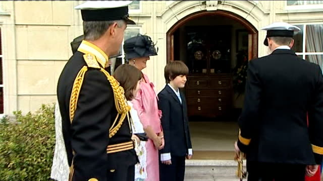 queen visits royal naval college at dartmouth england devon dartmouth royal naval college ext helicopter along / queen elizabeth ii along with... - dartmouth england stock videos & royalty-free footage