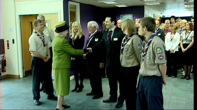 queen visits scouts association int queen greeting scout leaders - scout association stock videos and b-roll footage