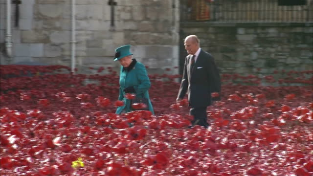 stockvideo's en b-roll-footage met queen visits sea of poppies at tower of london england london tower of london photography** queen elizabeth ii and prince philip the duke of... - yeomen warder