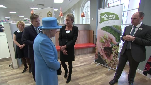 Queen visits Waitrose supermarket and unveils statue of the Queen Mother in Poundbury Poundbury INT **Audio as incoming mix of MUTE and FX** Milk on...