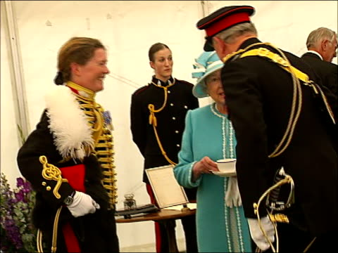 queen watches king's troop royal horse artillery parade / inspection / award ceremony / chatting with guests queen drinking a cup of tea and chatting... - royal horse artillery stock videos and b-roll footage