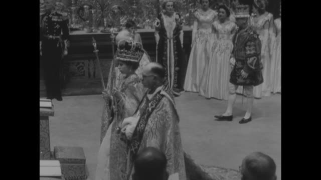 queen wearing crown holding scepter in one hand rod in other walks away from throne past maids of honor approaches kneeler and stops / hands scepter... - rod stock videos and b-roll footage