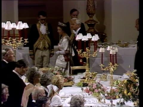queen with west german president weizsacker bbc queen elizabeth ii and president of west germany richard von weizsacker into banquet procession... - banquet stock videos & royalty-free footage
