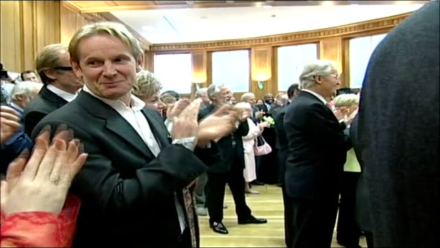 queen's 80th birthday: birthday celebration events; england: london: portland place: bbc broadcasting house: int low angle shot of queen elizabeth ii... - terry wogan stock videos & royalty-free footage