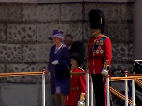 queen's 80th birthday celebrations trooping the colour march on / queen's arrival / massed bands troop england london horse guards parade ext long... - shawl stock videos and b-roll footage