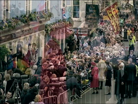 queen's 80th birthday: crowds gather at windsor castle / queen's walkabout; seq queen elizabeth ii walkabout outside windsor castle , receiving cards... - british royalty stock videos & royalty-free footage