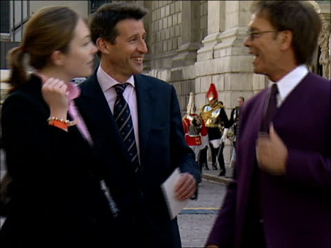 Queen's 80th birthday service at St Paul's Cathedral arrivals ENGLAND London St Paul's Cathedral EXT Sir Cliff Richard wearing purple suit shaking...