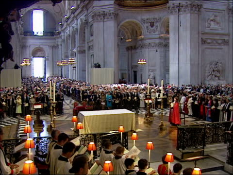 queen's 80th birthday: service at st paul's cathedral: queen and prince philip arrival; england: london: st paul's cathedral: ext prince philip out... - queen's birthday stock videos & royalty-free footage