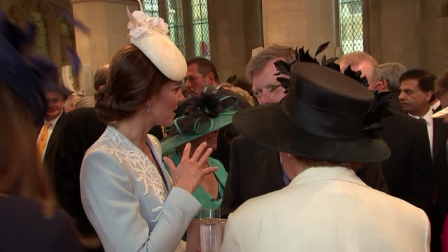 queen's 90th birthday celebrations duke and duchess of cambridge attend guildhall reception more beatrice / prince michael of kent / catherine... - prinz michael von kent stock-videos und b-roll-filmmaterial