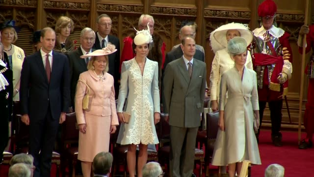queen's 90th birthday: duke and duchess of cambridge attend guildhall reception; int royals including duchess of cambridge, princes william and harry... - 90th birthday stock videos & royalty-free footage