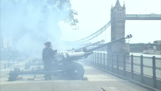 queen's 90th birthday gun salute england london ext various of gun salute being fired outside of the tower of london - 90th birthday stock videos and b-roll footage