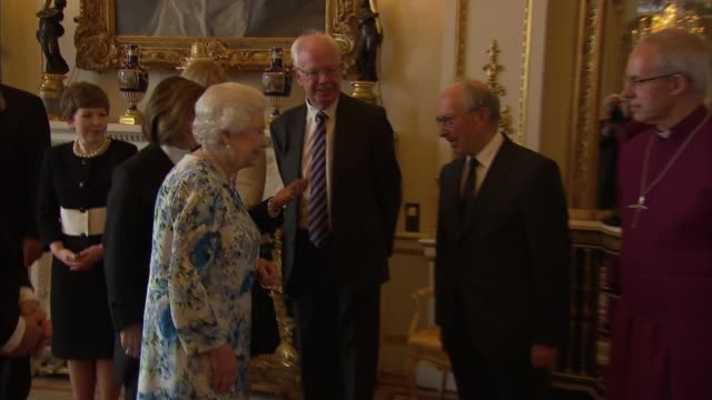 queen's 90th birthday parliamentary delegations visit buckingham palace england london buckingham palace int mps chatting including tim farron mp... - david cameron politician stock videos & royalty-free footage
