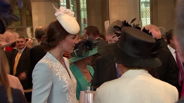 queen's 90th birthday royals attend guildhall reception princess beatrice chatting with guests / prince michael of kent / duchess of cambridge /... - prinz michael von kent stock-videos und b-roll-filmmaterial