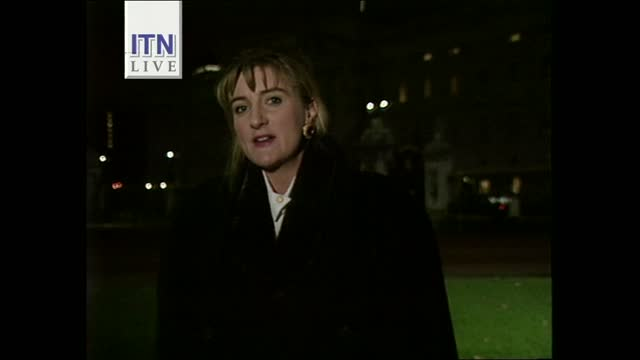 """queen's """"annus horribilis"""" speech: early evening news pab; england: london: gir: int live presenter john suchet 2-way with penny marshall outside... - itv news at five stock videos & royalty-free footage"""