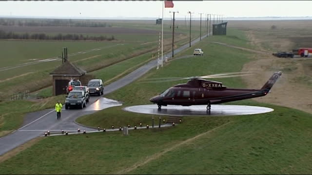 queen's arrival at raf holbeach remote detonation of charge and tour of raf marham england norfolk raf holbeach ext royal helicopter landing at raf... - hubschrauber landeplatz stock-videos und b-roll-filmmaterial