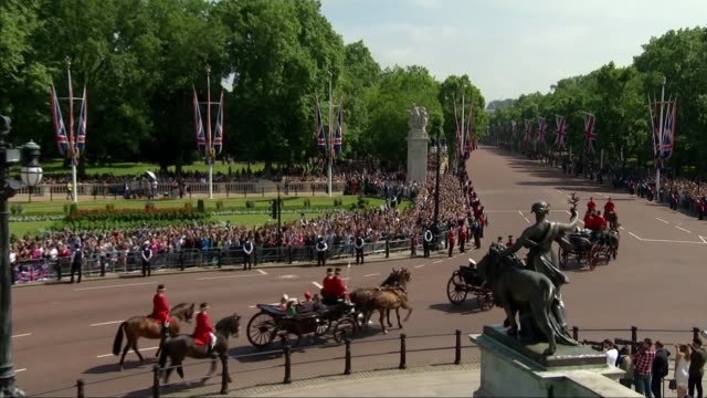 queen's birthday 2018 trooping of the colour uk london royal carriages along on mall carrying prince harry duke of sussex and meghan duchess of... - carriage stock videos & royalty-free footage