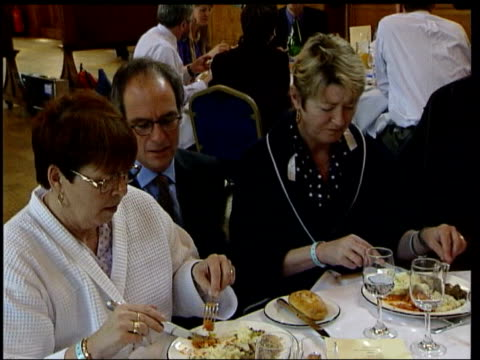 queens birthday honours list; lib int cms food critic and broadcaster loyd grossman talking with woman at tasting of meals proposed to be served to... - loyd grossman stock videos & royalty-free footage