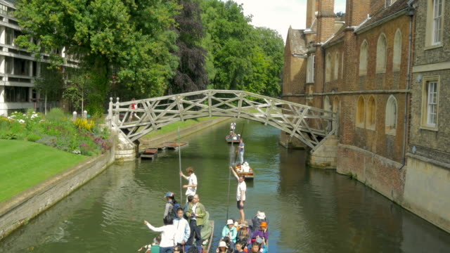 queens bridge, mathematical bridge,cambridge,punt - footbridge stock videos & royalty-free footage