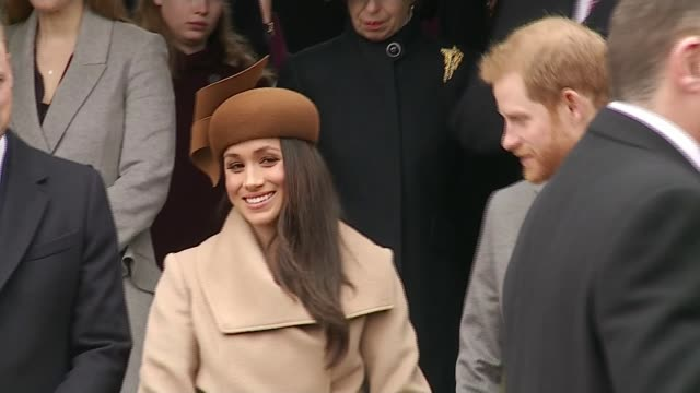 queen's christmas message / meghan markle joins royal family for sandringham service england norfolk sandringham ext queen elizabeth ii towards as... - norfolk england stock videos & royalty-free footage