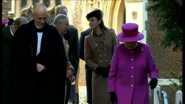 queen's christmas message / royals at church at sandringham; england: norfolk: sandringham: ext the queen, queen elizabeth ii along talking to... - イーストアングリア点の映像素材/bロール