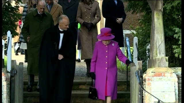 Queen's Christmas Message / Royals at church at Sandringham Norfolk Sandringham The Queen Queen Elizabeth II along talking to clergyman with Prince...
