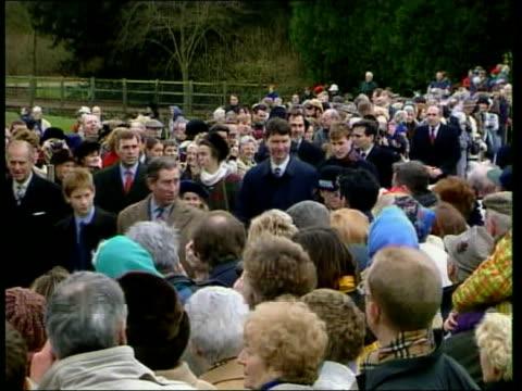 Queen's Christmas message/ Royals at Sandringham 1741 NICHOLAS OWEN Norfolk Sandringham TGV crowd ZOOM IN distant royal family members towards Prince...