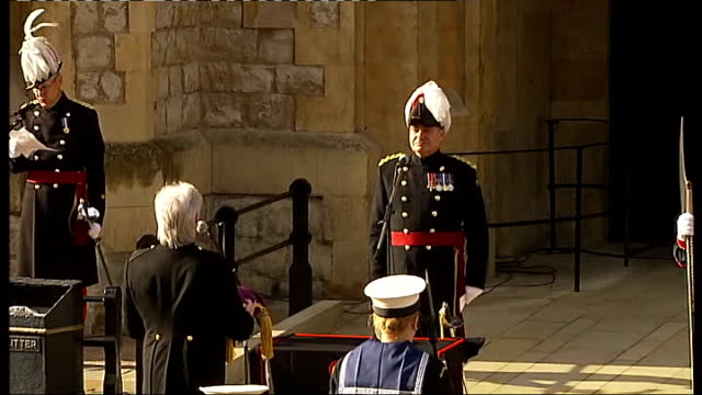 queen's diamond jubilee: crystal diamond for beacon lighting arrives at tower of london; peek and escort walking forward carrying crown and crystal... - diamond jubilee stock videos & royalty-free footage