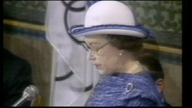 queen's diamond jubilee events watched around the world / us president barack obama tribute 1983 int queen elizabeth ii speech sot we in britain were... - elizabeth ii stock videos & royalty-free footage