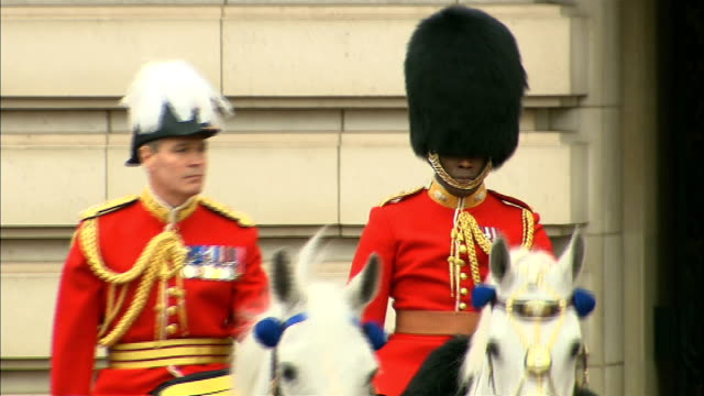 vidéos et rushes de queen's diamond jubilee general views of military and police grey escort troops standing to attention outside buckingham palace / general views of... - équidés