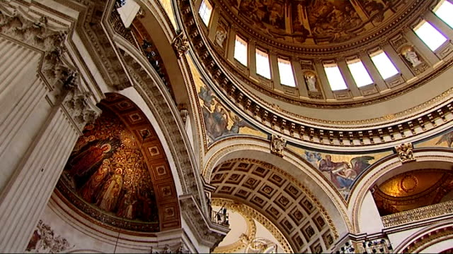 queen's diamond jubilee interview very revd dr david ison dean of st paul's cathedral gvs interior of st paul's cathedral domed ceiling altar... - st. paul's cathedral london stock videos and b-roll footage