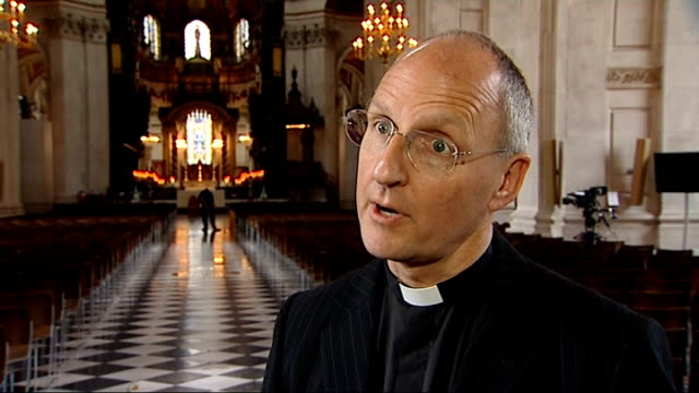 queen's diamond jubilee: interview very revd dr david ison, dean of st paul's cathedral; england: london: st paul's cathedral: int dr david ison... - country and western stock videos & royalty-free footage