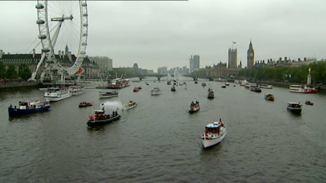 queen's diamond jubilee: little ships of dunkirk used in thames pageant; tx 3.6.2012 river thames: general views diamond jubilee pageant with 'little... - diamond jubilee stock videos & royalty-free footage