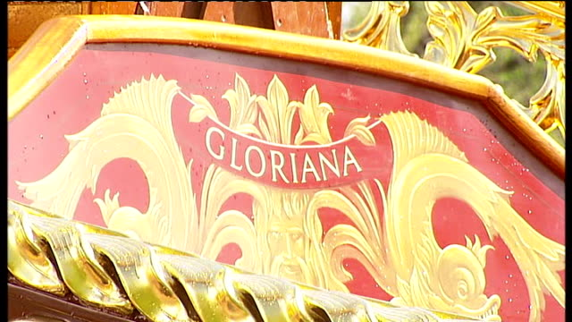 queen's diamond jubilee pageant launch of lead boat 'gloriana' england london isleworth lorry carrying 'gloriana' boat out of industrial unit... - leaf stock videos & royalty-free footage
