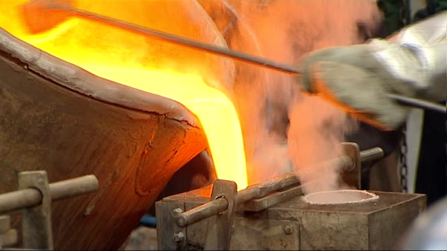 queen's diamond jubilee plans bells cast at whitechapel bell foundry england london whitechapel bell foundry int general views of foundry workers... - foundry worker stock videos and b-roll footage