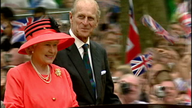queen's diamond jubilee plans lib ext queen elizabeth ii and prince philip duke of edinburgh waving to crowd from opentop car at golden jubilee... - golden jubilee stock videos & royalty-free footage