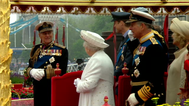 queen's diamond jubilee: prince philip misses final day of celebrations; tx 3.6.2012 river thames: side view of queen, prince philip, duke of... - ruler stock videos & royalty-free footage