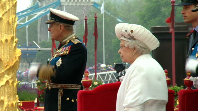 queen's diamond jubilee prince philip taken to hospital ahead of concert tx london river thames day side view of queen and prince philip on royal... - beauty contest stock videos and b-roll footage
